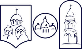 Set church logo icon element. Template church building cross Christianity, evangelical. Church building on white Stock Photo