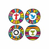 A set of church logos drawn by hand. vector illustration