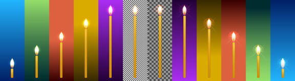 Set of church wax candles of different sizes and with different Stock Images