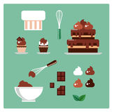 Set ciasteczko elementy i rzeczy czekolada wektor Zdjęcia Royalty Free