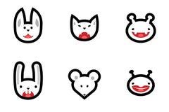 Set ścieżki zwierzę obcy i głowy Obrazy Stock