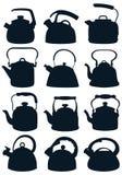 Set ciemne sylwetki czajniki dla talerza również zwrócić corel ilustracji wektora ilustracji