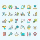 Set ciency kreskowi kolor ikon ludzie Zdjęcia Stock