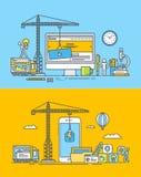 Set ciency kreskowi płascy projektów pojęcia sieć, wiszących ozdób apps i miejsca i Zdjęcie Stock