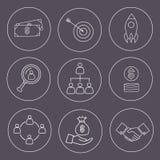 Set cienka kreskowa biznesowa ikona Obrazy Royalty Free