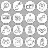 Set cienka kreskowa biznesowa ikona Zdjęcia Stock