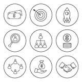 Set cienka kreskowa biznesowa ikona Zdjęcie Royalty Free