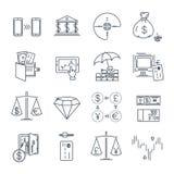 Set cienki kreskowy ikona biznes, finanse, pieniądze Zdjęcie Stock