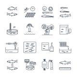 Set cienki kreskowy ikony aquaculture proces produkcji ilustracja wektor