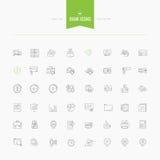 Set cienki kreskowy płaski bank, pieniądze i finanse ikony Obrazy Stock