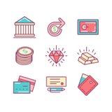 Set cienki kreskowy płaski pieniądze i finansowe ikony Zdjęcie Royalty Free