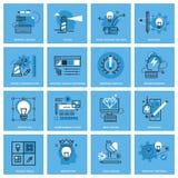 Set cienkie kreskowe pojęcie ikony graficzny projekt, kreatywnie proces, sieć projekt i rozwój, Zdjęcia Stock