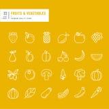 Set cienkie kreskowe sieci ikony dla owoc i warzywo Zdjęcie Stock