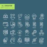 Set cienkie kreskowe sieci ikony na temacie edukacja Obrazy Stock