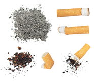 Set Cigarette butts and ashes from tobacco isolated Royalty Free Stock Photos