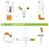 Set cigarette or life №1. Cigarette in various poses for tobacco control №1 Stock Photos