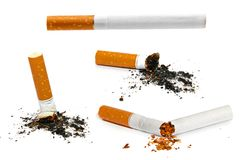 Set of cigarettes isolated on white Stock Photo