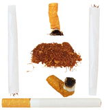 Set of cigarettes, tobacco, cigarette butts Stock Photo