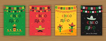 Set of cinco de mayo festive party poster template. Set of cinco de mayo event promo template. Festive vector illustration collection with sombrero and bunting vector illustration