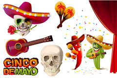 Set Cinco de Mayo. Mexican skull in sombrero holding rose teeth. Lettering text for greeting card Stock Photos