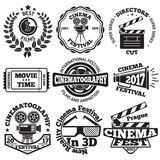 Set of Cinema badges with camera, clapboard, ticket etc. Vector. Illustration Stock Image