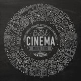 Set of Cinema cartoon doodle objects. Chalk board vector hand drawn set of Cinema cartoon doodle objects, symbols and items. Round frame composition Stock Photography
