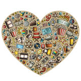 Set of Cinema cartoon doodle objects. Colorful vector hand drawn set of Cinema cartoon doodle objects, symbols and items. Heart form composition Royalty Free Stock Photo