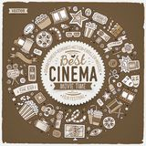 Set of Cinema cartoon doodle objects. Toned vector hand drawn set of Cinema cartoon doodle objects, symbols and items. Round frame composition Stock Photo