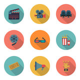 Set cinema color icons, design elements. Flat style. Royalty Free Stock Photography