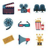 Set cinema color icons, design elements isolated on white background. Flat style. Royalty Free Stock Photography