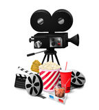 Set cinema elements isolated on white background vector illustration. Composition poster postcard with retro camera director, film, 3D glasses, cola, popcorn Royalty Free Stock Photo