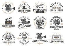 Set of cinema emblems. Set of cinema vintage emblems. Vector illustration Royalty Free Stock Photography
