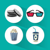Set cinema film movie icons. Vector illustration eps 10 Stock Image
