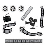 Film / cinema industry. Set of cinema and film objects isolated on white, camera filmstrip clapboard Stock Images