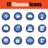 Set of cinema icons. Glossy button design. Vector illustration Stock Image