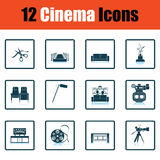 Set of cinema icons. Shadow reflection design. Vector illustration Stock Images