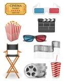 Set cinema icons stock vector illustration. Isolated on white background Stock Images