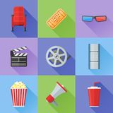 Set of cinema and movie flat style icons. Vector illustration. Set of cinema and movie flat style icons. Cinema chair, ticket, 3d glasses, popcorn, clapper Stock Images