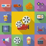 Set of Cinema, Movie icons. Royalty Free Stock Images