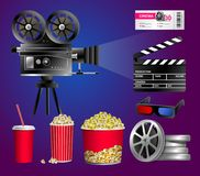 Set of cinema objects - modern vector realistic  clip art. On blue and purple background. Popcorn box, cup for beverages with straw, film strip, ticket, clapper Royalty Free Stock Image