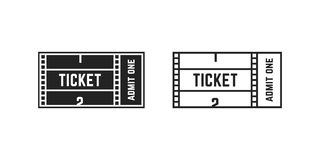 Set of cinema or online movie ticket. Concept of gain access to popular web television season show. simple linear flat trend modern black stroke logotype Stock Photo