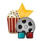 Set cinema pop corn reel film 3d glasses award Stock Images