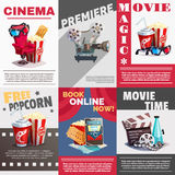 Set Of Cinema Posters With Premiere Advertising stock illustration