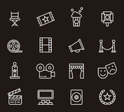 Set of cinema related icons Royalty Free Stock Images