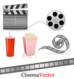 Set of cinema symbols. Vector. Royalty Free Stock Images