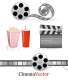 Set of cinema symbols. Vector. Illustration Royalty Free Stock Images