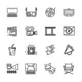 Set of cinema and theater icons royalty free illustration