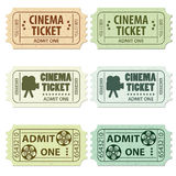 Set Cinema Ticket. Set of Cinema Tickets in Different Colors and Styles, vector illustration Stock Photos