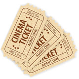 Set Cinema Ticket. Set of Three Cinema Tickets, vector illustration Royalty Free Stock Images