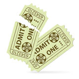 Set Cinema Ticket. Two Cinema Tickets (Torn and Intact) with Tape Reel, vector illustration Stock Photography